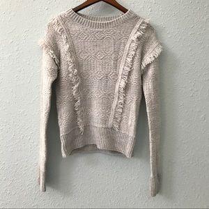 GAP wool blend fringe sweater in oatmeal size XS